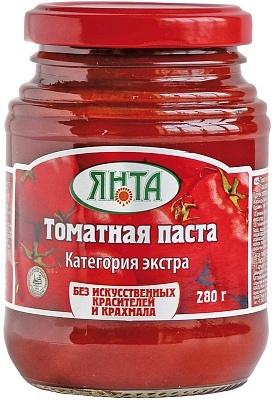 """Паста томатная с массовой долей  растворимых сухих веществ 25% сорт """"Экстра"""", ст/банка 0,28 кг."""