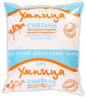 "Сметана ""Умница"" 15% йод. п/пак 0,5 кг"