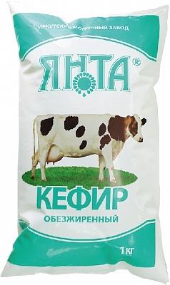 Кефир обезжиренный п/пак 1,0 кг