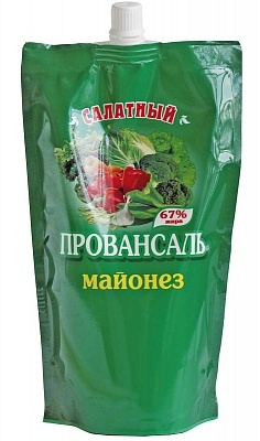 """Майонез """"Салатный Провансаль"""" с массовой долей жира 67%, пакет 0,1 кг."""